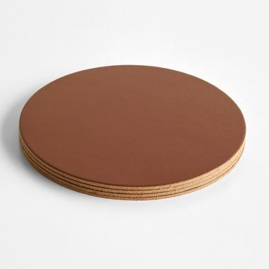Dot Pecan Round Leather Coasters Set of 4