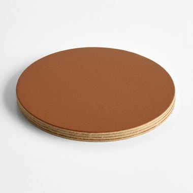Dot Cognac Round Leather Coasters Set of 4