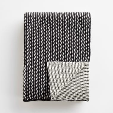 Birds Eye Stripe Knit Throw Blanket