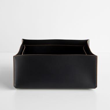 Black Rectangular Leather Storage Bins Set of 2