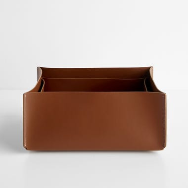 Cocoa Rectangular Leather Storage Bins Set of 2