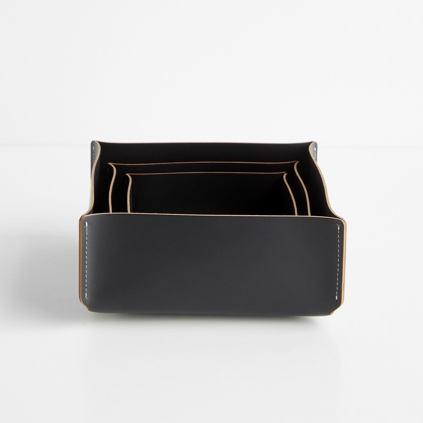 Square Black Leather Storage Bins Set of 3