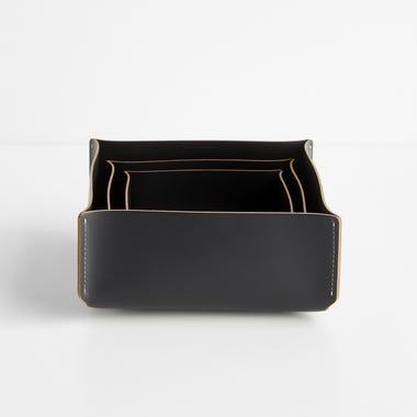 Black Square Leather Storage Bins Set of 3