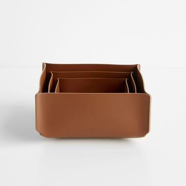 Cocoa Square Leather Storage Bins Set of 3