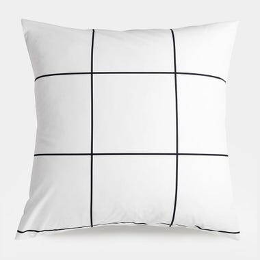 Grid Black Euro Sham Set of 2