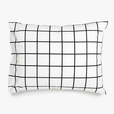 Grid Black Pillowcase Set