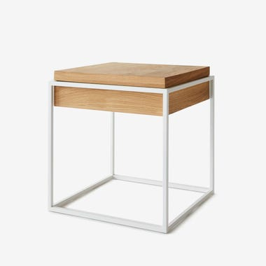 Cube White Side Table