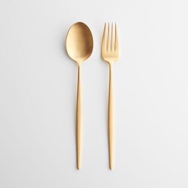 Eve Brushed Gold Fork & Spoon Serve Set