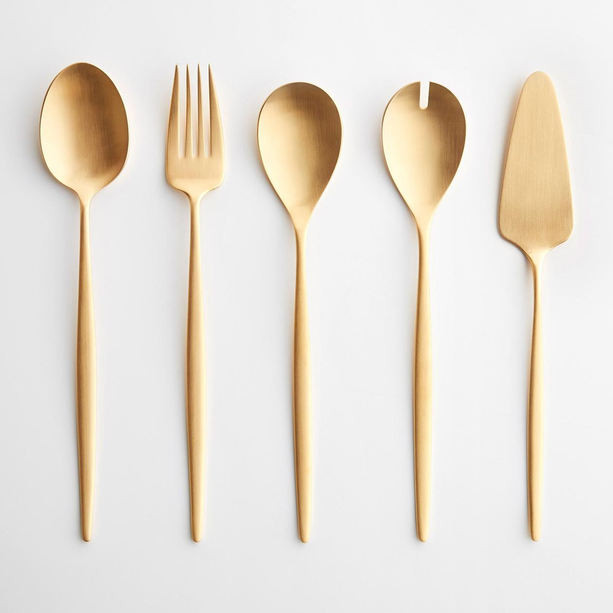 Eve Brushed Gold 5pc Serve Set