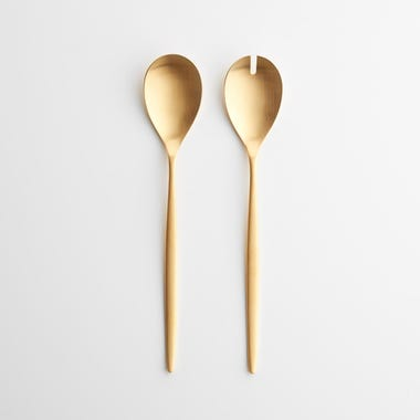 Eve Brushed Gold Salad Servers