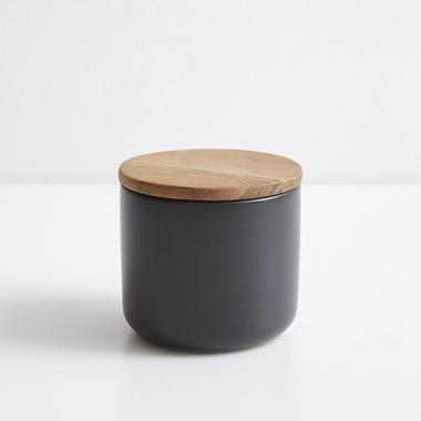 Stoneware Container Black Medium