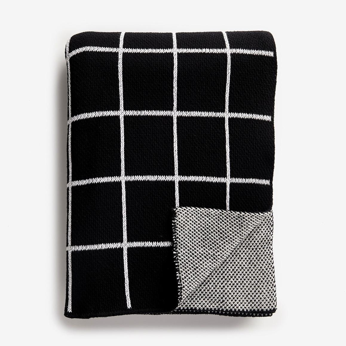 Grid Black Knit Throw Blanket