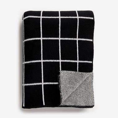 Grid Black Knit Throw Blanket