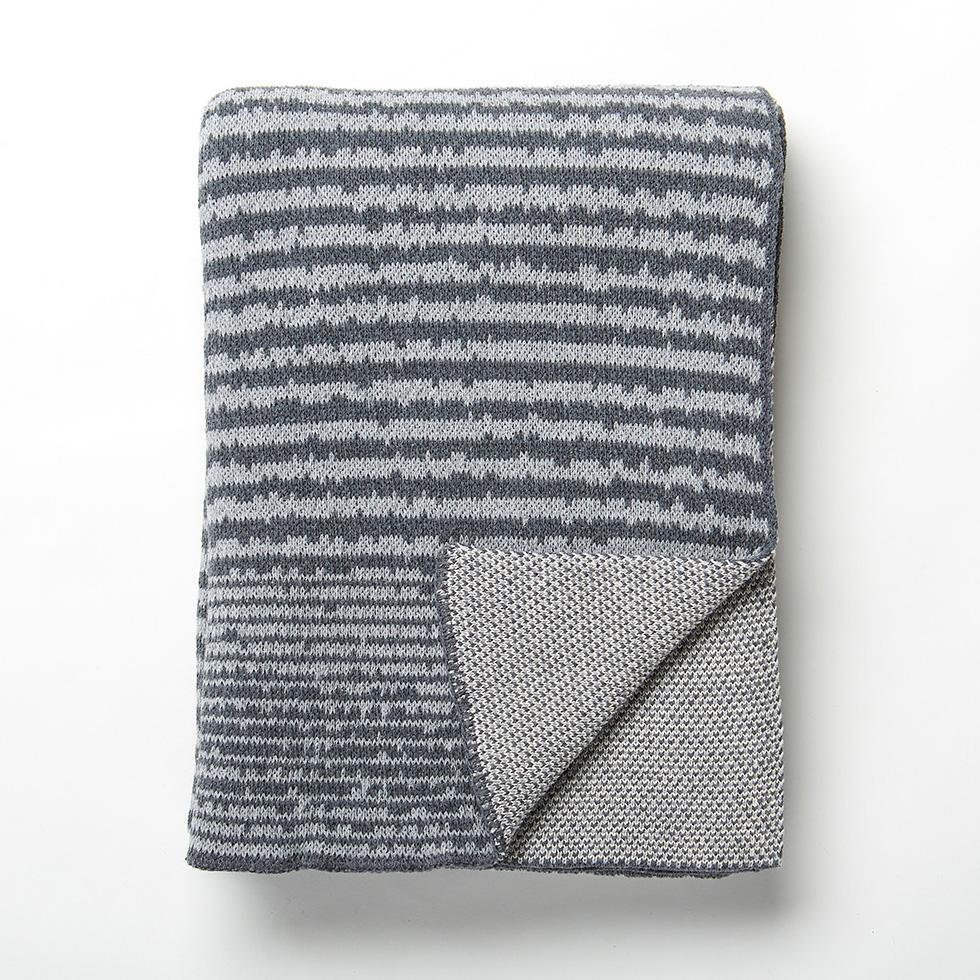 Strata Gray Knit Throw Blanket