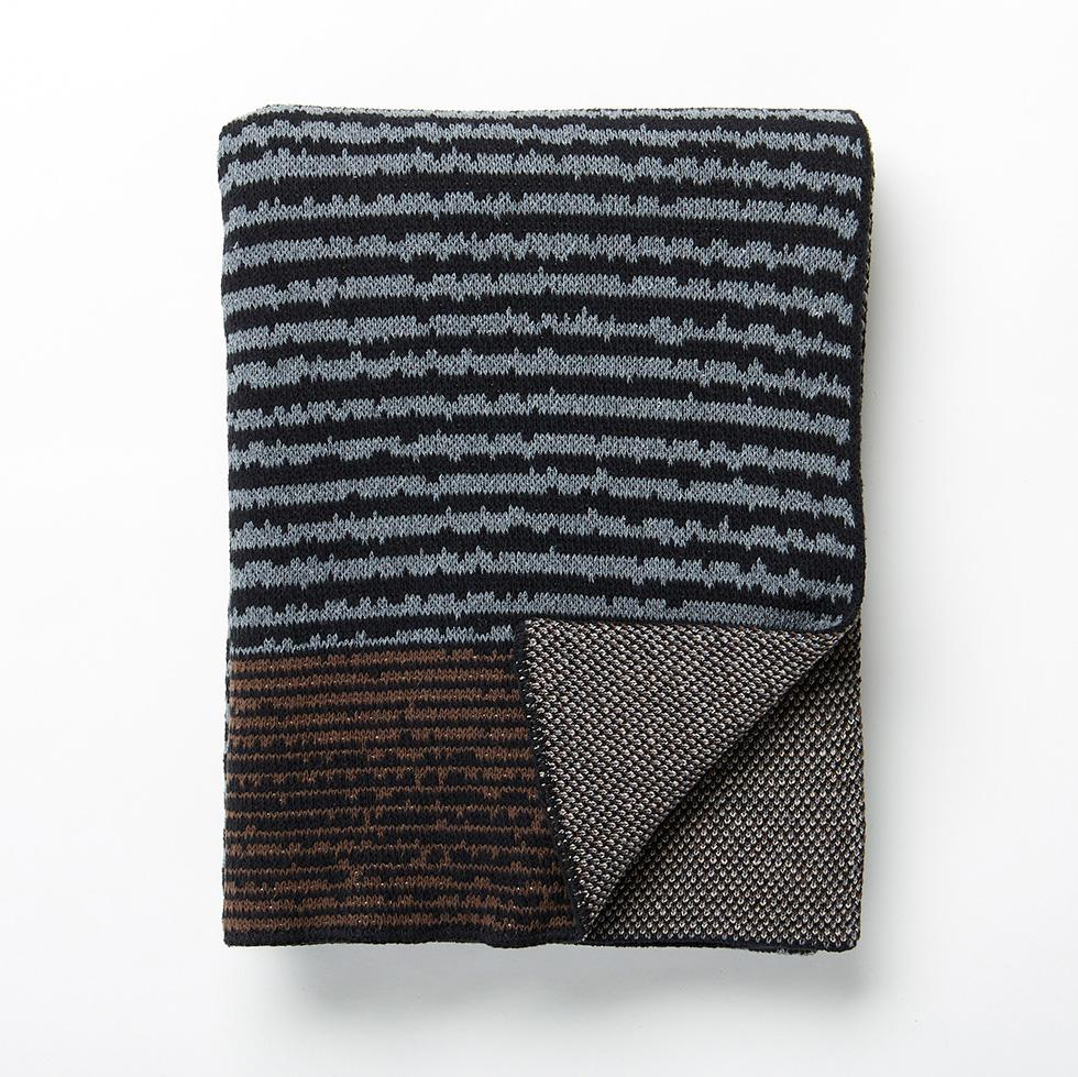 Strata Black Knit Throw Blanket