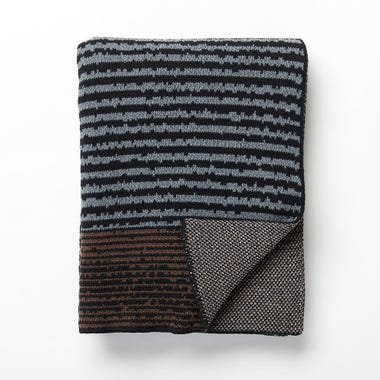 Strata Black Knit Blanket