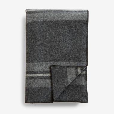 Cabin Stripe Charcoal Blanket Queen