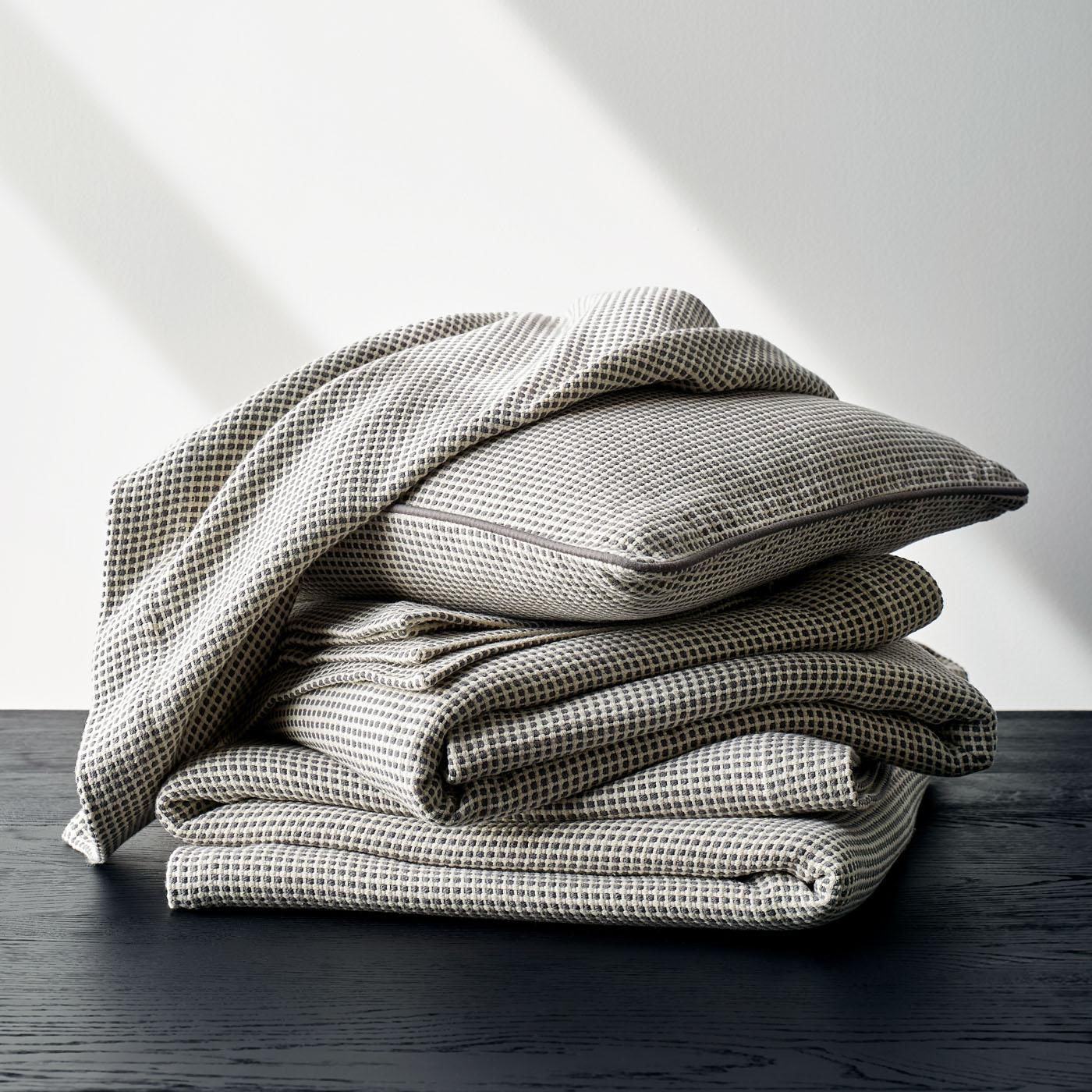 Dobby Gray Throw Blanket + Pillow