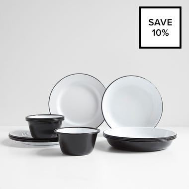 Falcon Black 12pc Dinnerware Bundle