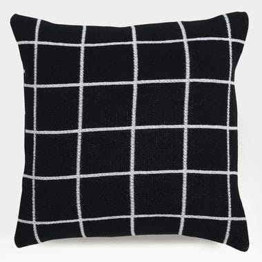 "Grid Black Knit Throw Pillow Cover 18"" x 18"""