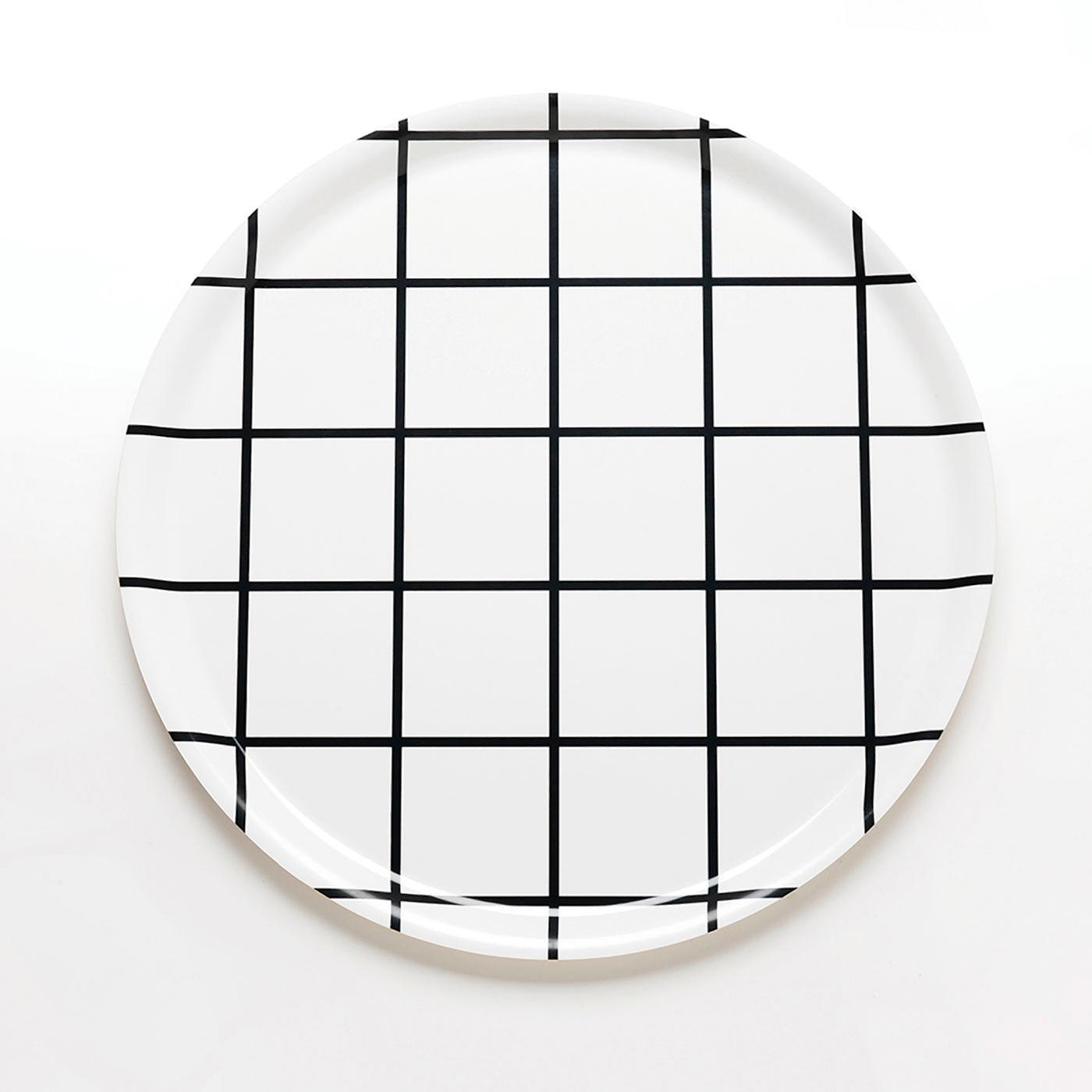 Grid Black Round Tray