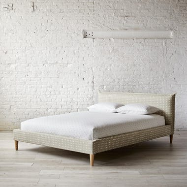 Lattice Khaki French Seam Platform Bed