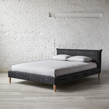 Lattice Black French Seam Platform Bed
