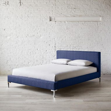 Stippled Navy Platform Bed