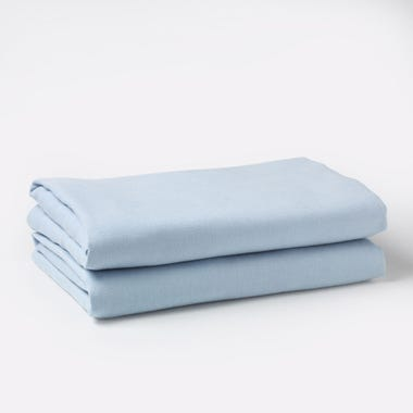 Linen Powder Blue Sheets Queen