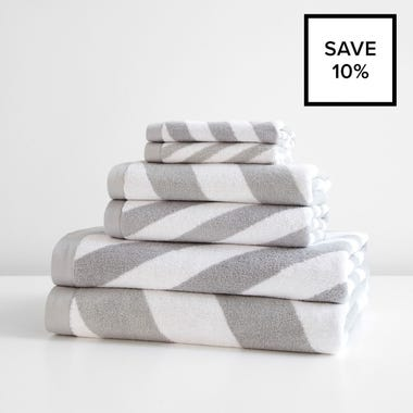 Milano Gray Towel 6pc Bundle