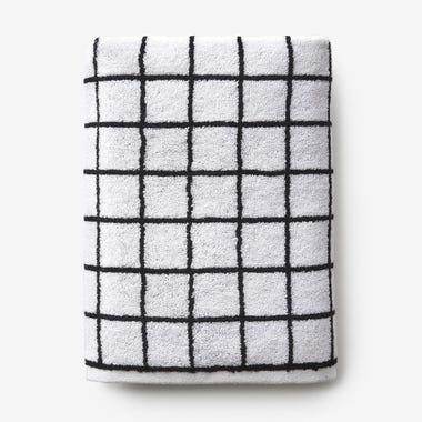 Mini Grid Black Hand Towel
