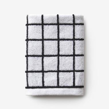Mini Grid Black Washcloth