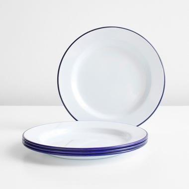 Falcon White Enamelware Plates Set of 4