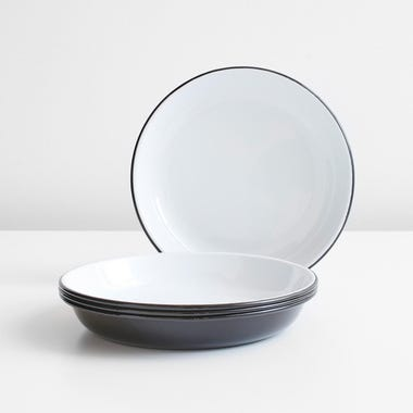 Falcon Black Enamelware Deep Plates Set of 4