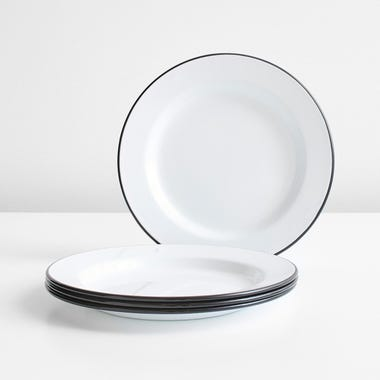 Falcon Black Enamelware Plates Set of 4