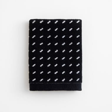 Stitch Black Woven Washcloth
