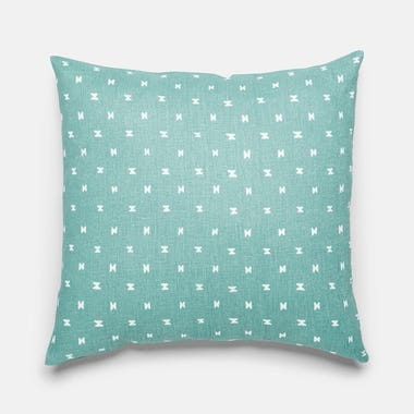 "Sashi Geo Teal Linen Throw Pillow Cover 17"" x 17"""