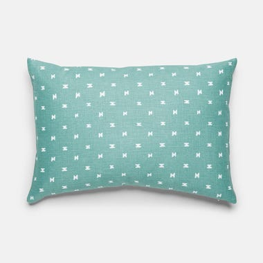 "Sashi Geo Teal Linen Throw Pillow Cover 12"" x 18"""