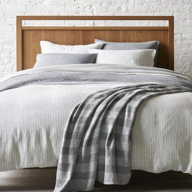 Spencer Chambray + Saville Stripe Reversible Duvet Cover