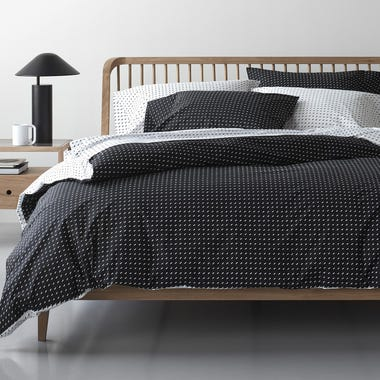 Stitch Black + White Reversible Duvet Cover