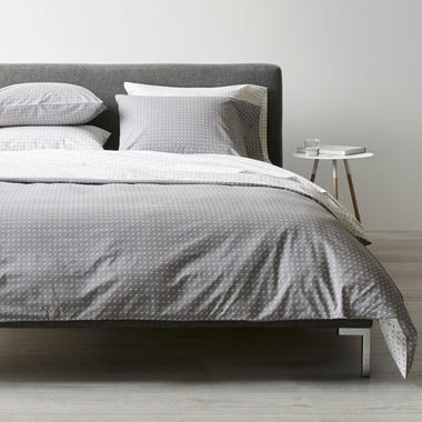 Stitch Pewter + White Duvet Cover Queen