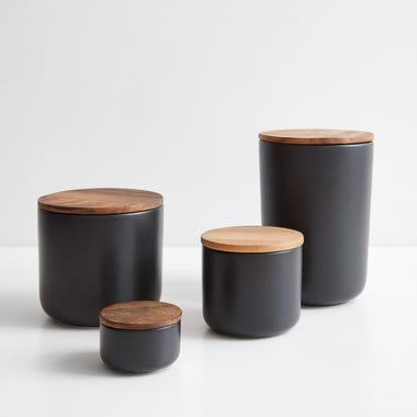 Stoneware Black Containers