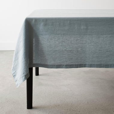 Linen Aqua Tablecloth 60x120