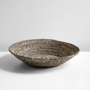 Heathered Black and White Raffia Bowl 24""